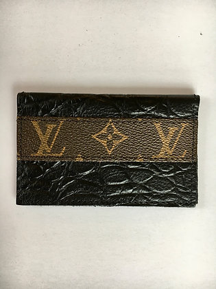 Leather LV Credit Card Wallet, Black
