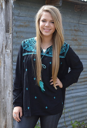 Turquoise Stitched Top