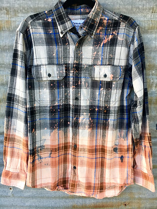Distressed Flannel Shirt, Grey