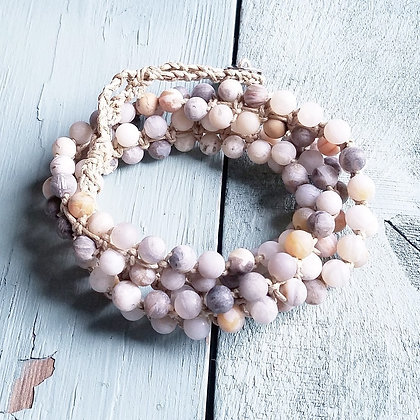 Frosted Bamboo Beaded Wrap Bracelet