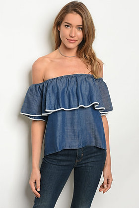 Denim Shoulder Top