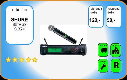 wynajem mikrofonu bezprzewodowego Shure SLX Beta58