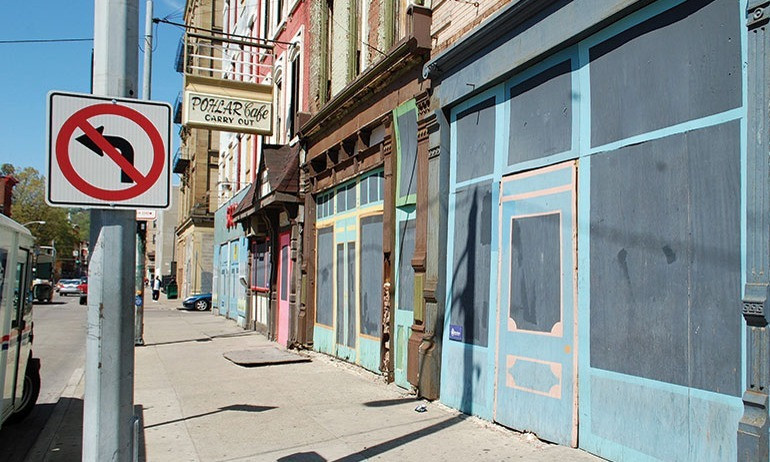 Over-The-Rhine, home of the plywood storefront