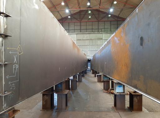 Steel Prins Claus bridge in factory.