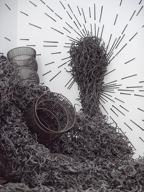 ozymandias, viper, pillars, american steel, bisbee, john, cmca, nails, art, sculpture, political art