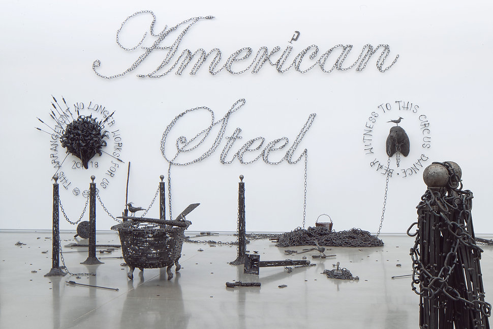 tubboat, bouqet, stool, pistol, grackle, chains, bear, american steel, bisbee, john, cmca, nails, art, sculpture, political art