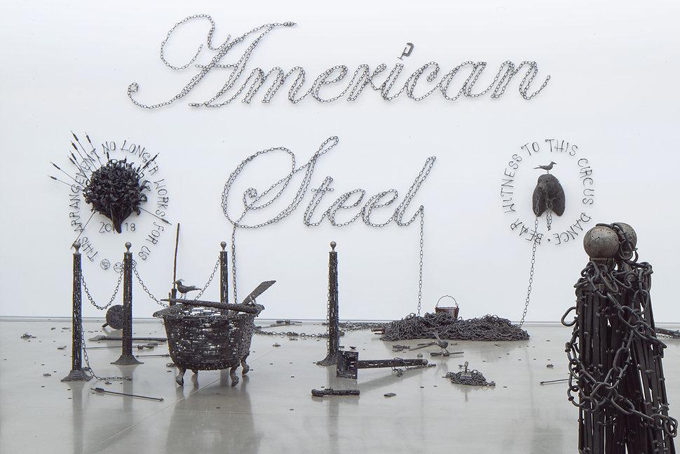 tubboat, bouqet, stool, pistol, grackle, chains, bear, american steel, bisbee, john, cmca, nails, art, sculpture, political art