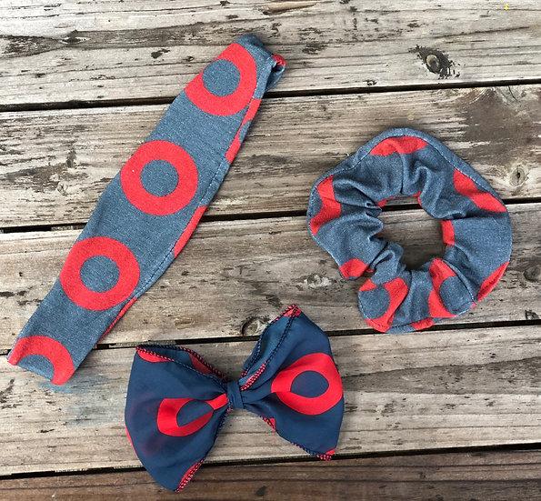 Fishman Donut Headband, Scrunchie and Bow Set