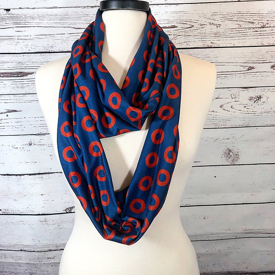 Fishman Donut Infinity Scarf in Double Brushed Soft Knit or Chiffon