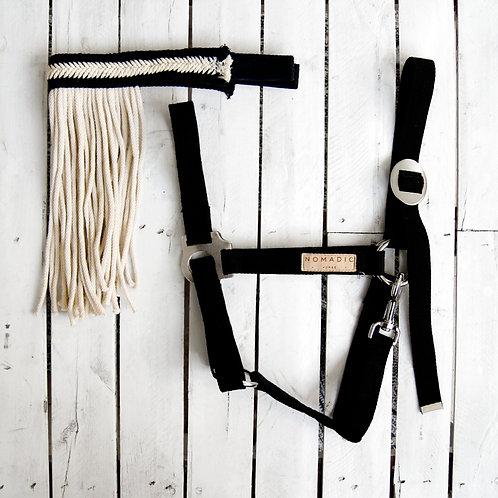 Bonita | Bawełniany zestaw, kantar i frędzle w kolorze czarnym
