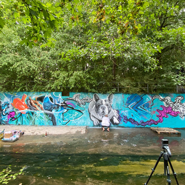 Painting session at the Canal in Satigny, Geneva