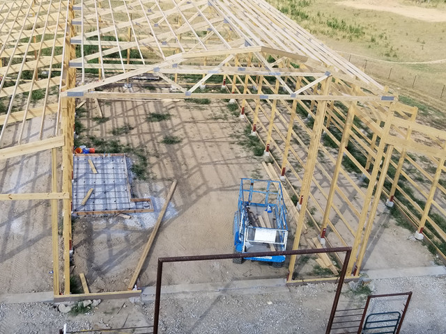 Overhead shot of Frame structure | Post Frame Building | CPS | Hunnewell, Missouri