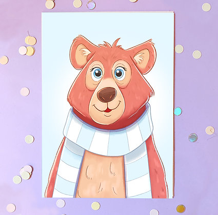 Bear with a Scarf Illustrated A5 Print