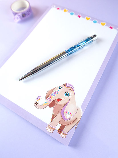 'Naini the Elephant' A5  Notepad with 50 Sheets