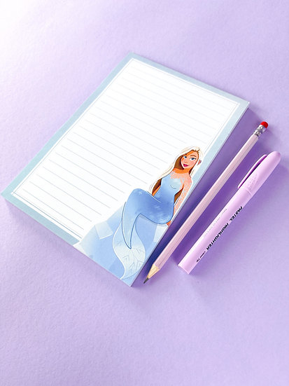 Ice Mermaid Illustrated Notepad with 50 lined pages by Emily Harvey Art
