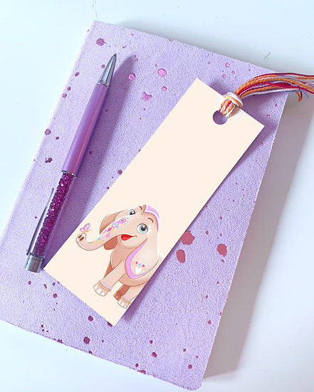 Indian Elephant with Tassel Illustrated Bookmark