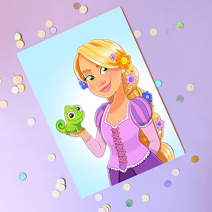 Rapunzel and Pascal Illustrated A5 Print