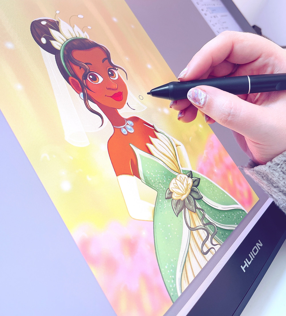 Emily drawing Tiana from Princess and the Frog on her Huion tablet.