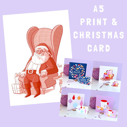 Santa Print and Christmas Card