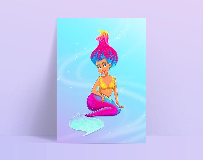 Neon Mermaid Illustrated A5 Print