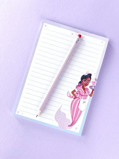Milkshake Mermaid illustrated notepad with 50 lined sheets by Emily Harvey Art