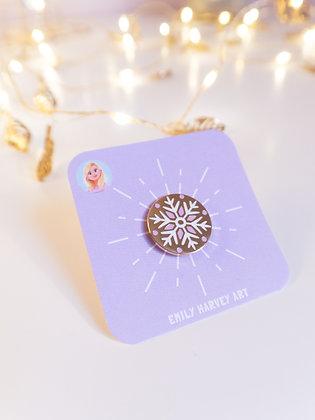 Pretty Snowflake Gold Enamel Pin