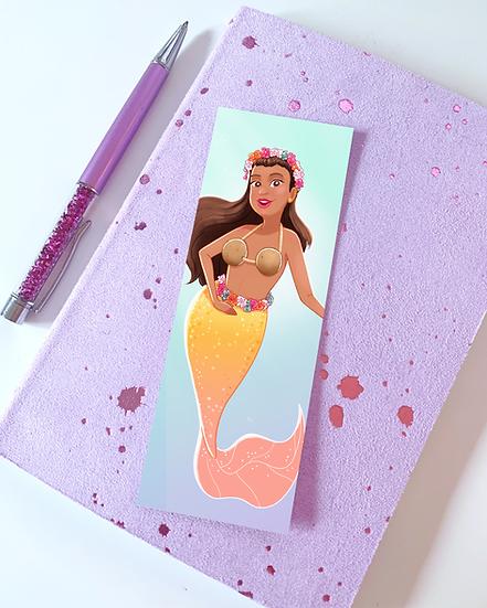 Tropical Mermaid Illustrated Bookmark by Emily Harvey Art
