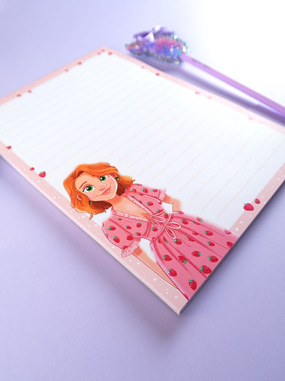 'Strawberry Dress' A5 Lined Notepad with 50 Sheets
