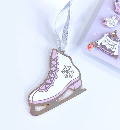 Gold Ice Skates Christmas Tree Decoration with Lilac Ribbon