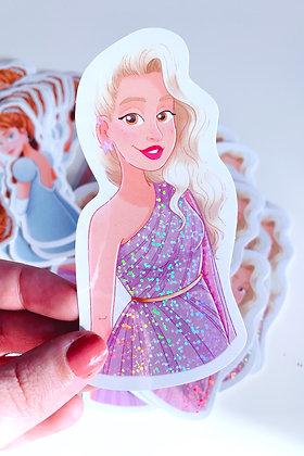 'Ella' Glitter Illustrated Vinyl Sticker
