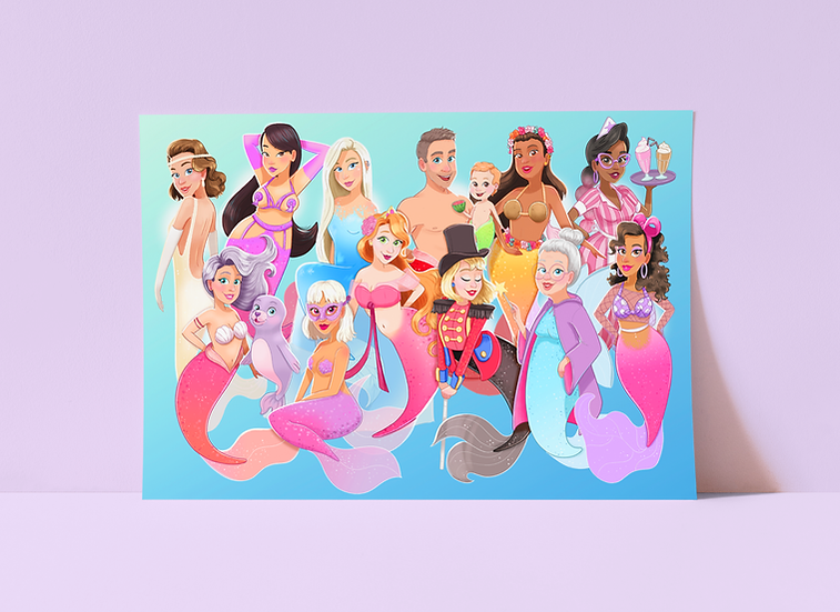 Full Mermaid Collection Limited Edition Art Print by Emily Harvey Art