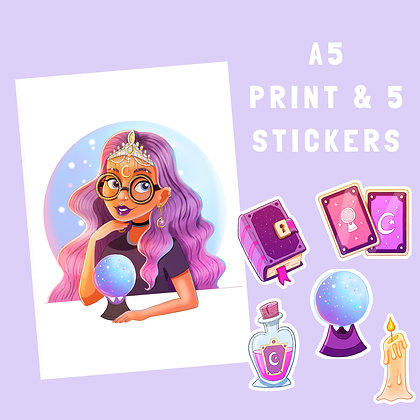 Gothic Witch Print & Sticker Pack