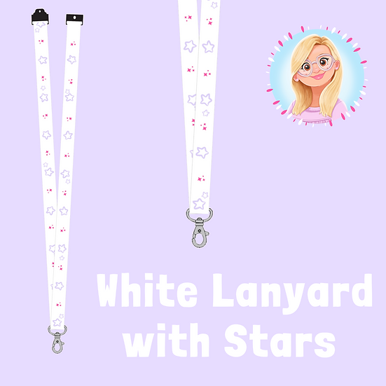 White Recycled Lanyard with Stars 20mm