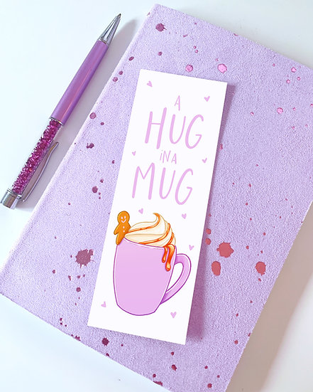 Hug In A Mug Winter Illustrated Bookmark