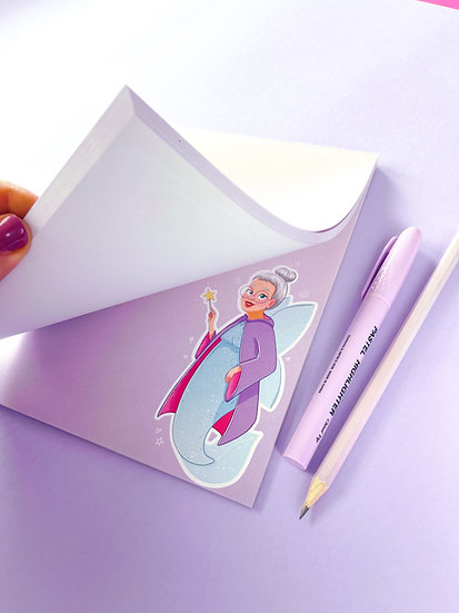 Fairy Godmother Mermaid Illustrated notepad with 50 pages by Emily Harvey Art