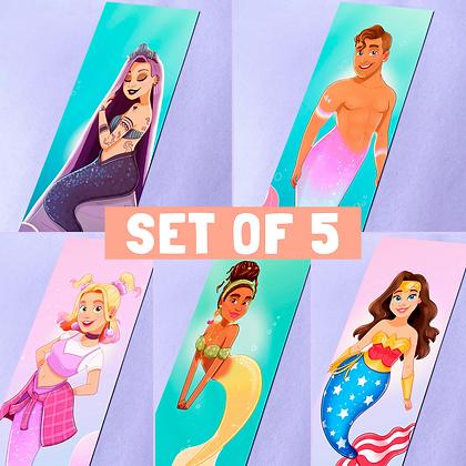 Set of 5 Mermaid Illustrated Bookmarks