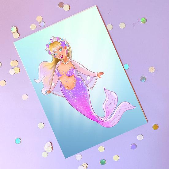 Mermaid Illustrated A5 Print