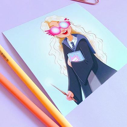 'Luna Lovegood' Illustrated Square Print