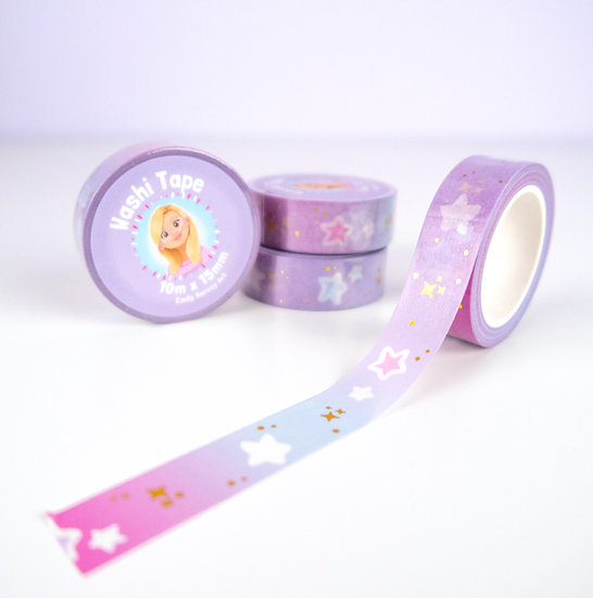 Pink Gradient with Gold Stars Washi Tape
