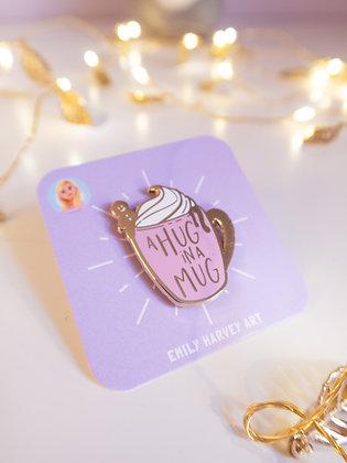 Hug in a Mug Gold Enamel Pin