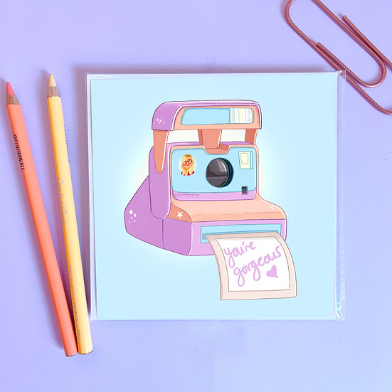 You're Gorgeous Polaroid Illustrated Print