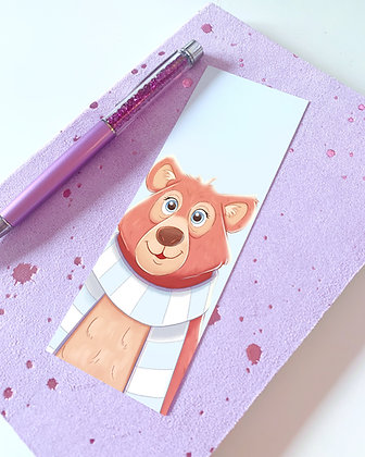 Bear with a Scarf Illustrated Bookmark