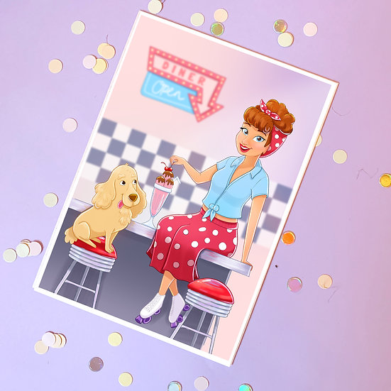 Diner Chic Illustrated A5 Print