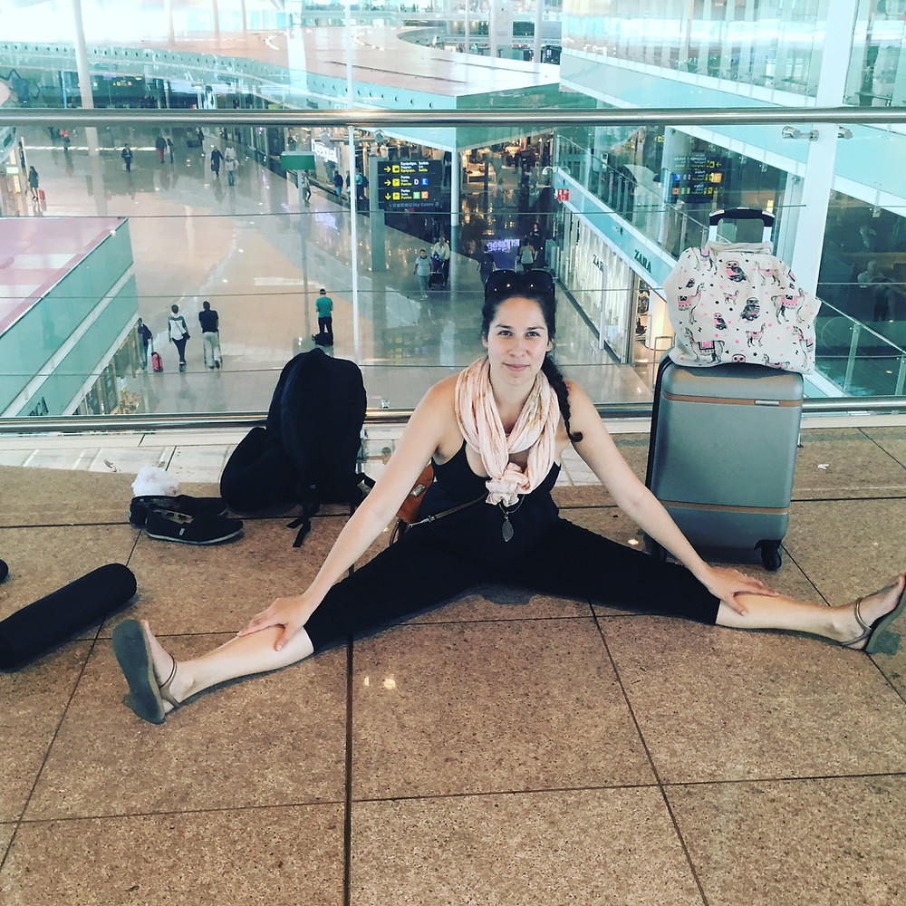 Sami Stretching at the Airport
