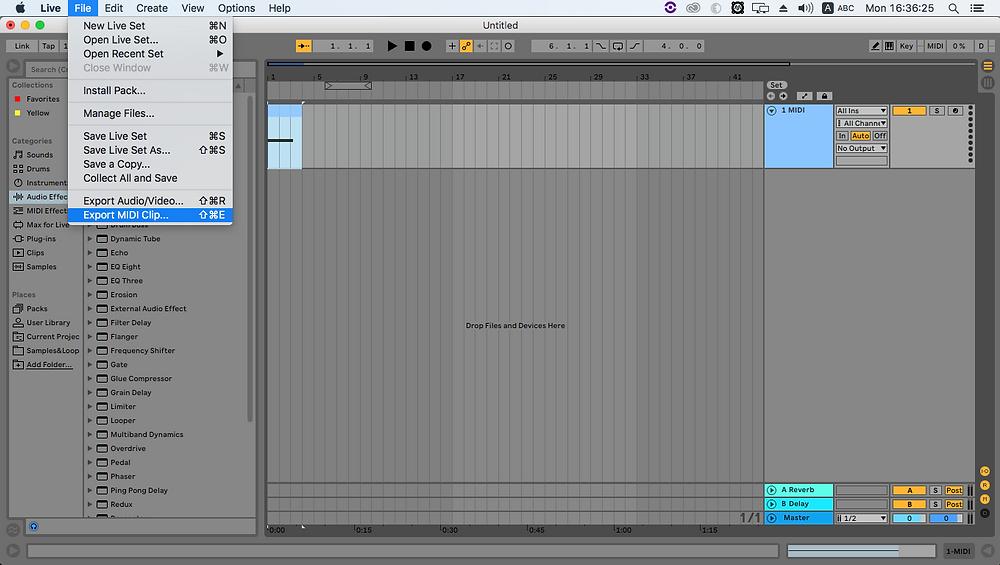 Exportar MIDI en Ableton Live