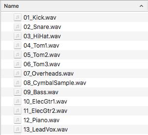 Ejemplo de nombramiento de archivos de audio