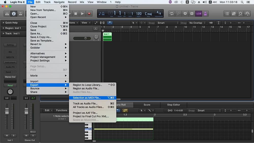 Exportar MIDI en Logic Pro X