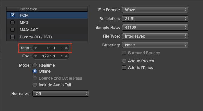 Export Audio Window en Logic Pro X