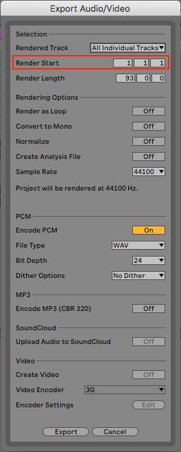 Export Audio Window en Ableton Live