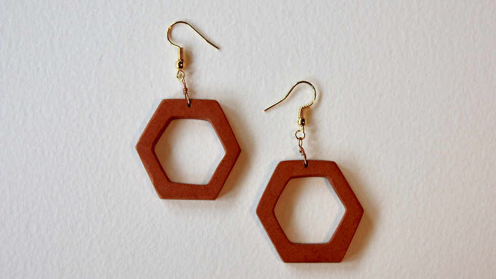 Hexagon Dangle Hoop